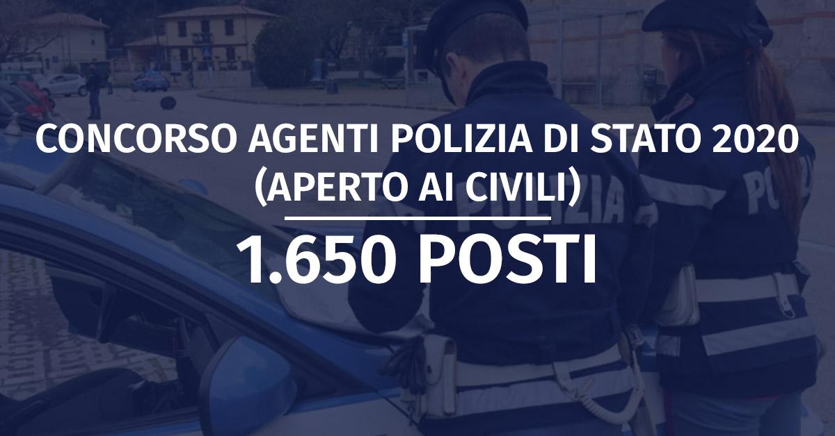 Concorso 1.650 Allievi Agenti Polizia di Stato 2020 (Aperto ai Civili) - Rinvio Diario Prova Scritta
