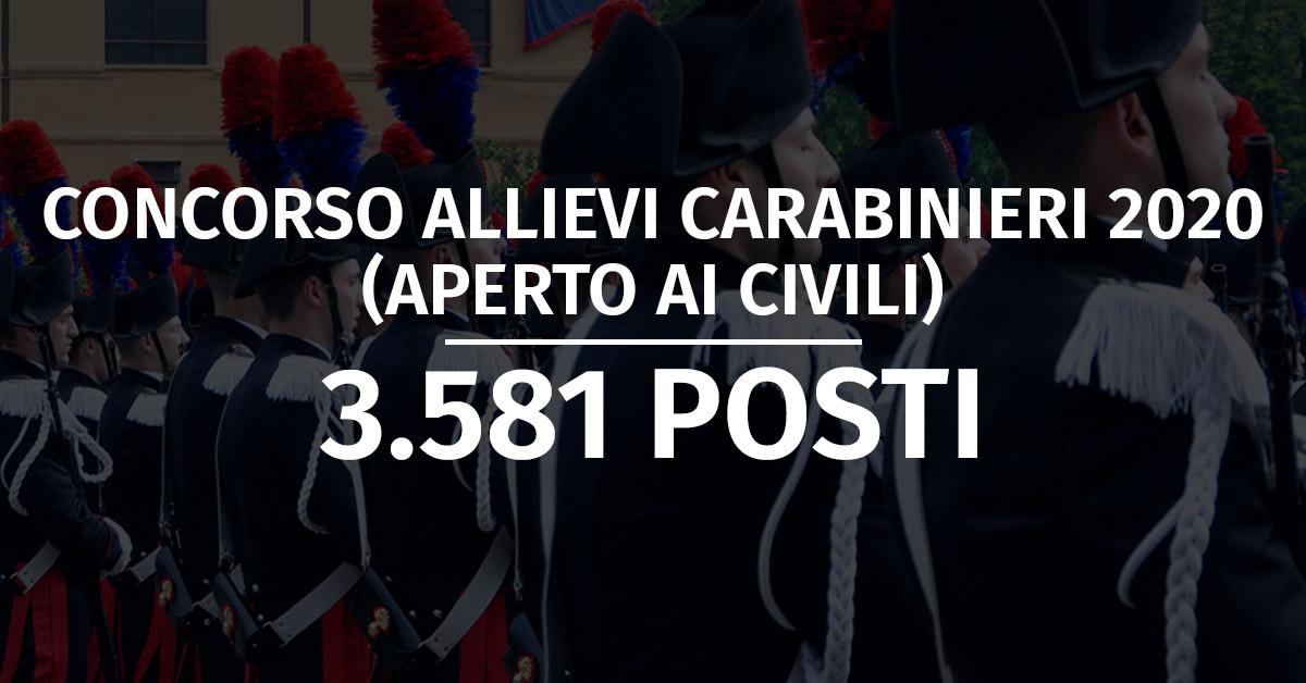 Concorso 3.581 Allievi Carabinieri 2020 (Aperto ai Civili) - Proroga Presentazione Domande