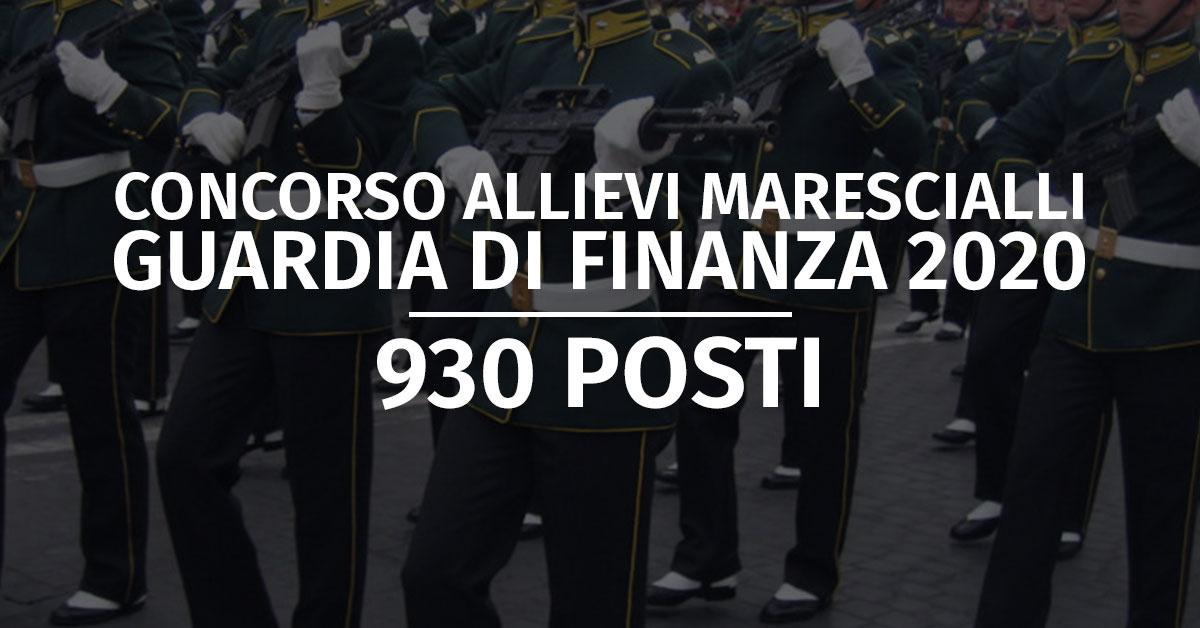 Concorso 930 Allievi Marescialli Guardia di Finanza 2020 - Calendario Prova di Preselezione
