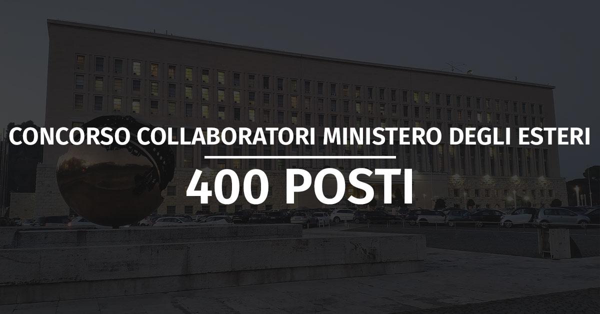 Concorso 400 Collaboratori Ministero degli Esteri 2021